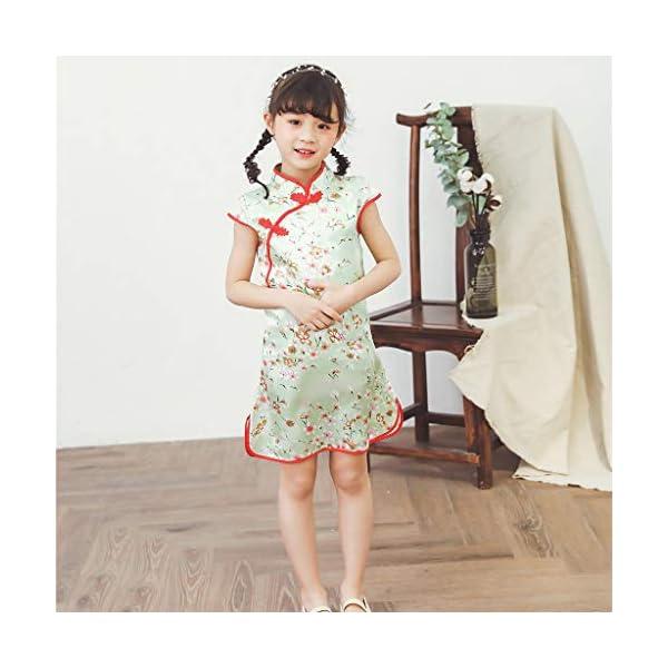 Aini Vestido De Bebé NiñAs Vestido De NiñA Cheongsam Vestido Estampado Estilo Chino para NiñA Vestido Manga Corta Floral… 3