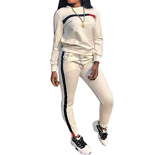 MINTLIMIT Trainingsanzug Damen 2 Stück Outfit Kurze Ärmel Streifen Jogginganzug Frauen Tracksuit Top T-Shirt Lange Hose Beiläufig Sport (Lange Weiß, S)