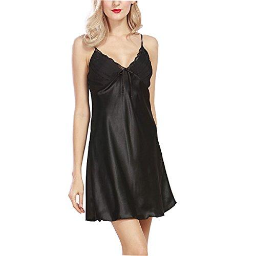 BigForest Femmes Satin Soie slip Peignoir Pyjama short v¨ºtements de nuit robe Black