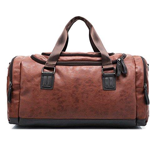Sporttasche,Foxom Retro Herren PU-Leder Reisetasche Sporttasche Schultertasche Reisegepäck Freizeittasche Groß Handgepäck Tasche,Schwarzer Kaffee Brown