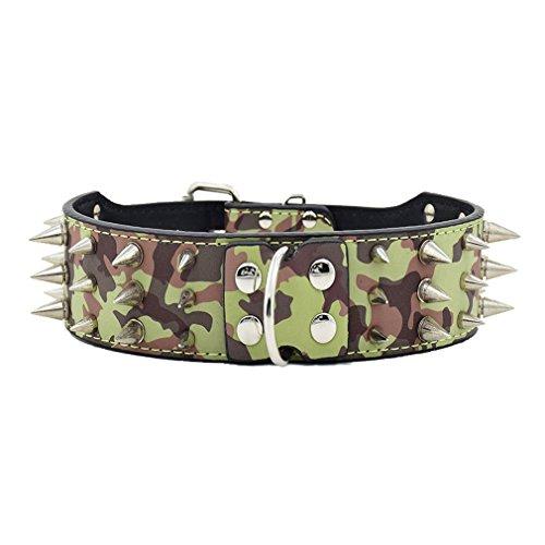 Artikelbild: Hundehalsband Halsbänder mit Spitznieten 3 Linien Nieten aus PU Leder Schmuck Metallring Hundemarke 43-61cm Halsumfang für große Hunde Hunter, Tarnung XXL