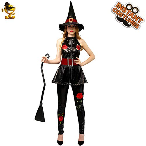 AA Halloween Frauen Hexe Kostüm New Style Red Rose Hexe Kostüm Cosplay Hexe Kostüme for Weihnachten & Karneval Party SD (Color : Onecolor, Size : - Rose Hexe Kostüm