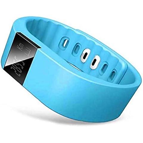 Tongshi Bluetooth elegante reloj pulsera deporte sano podómetro del monitor del sueño (Azul)