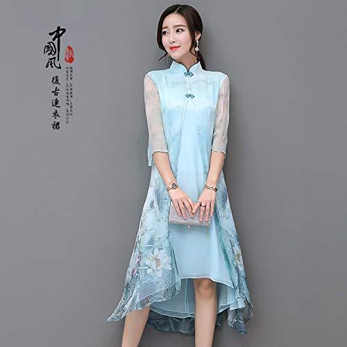 Cxlyq Kleider Retro Langen Abschnitt Lässig Cheongsam Chinesischen Stil Kleid Im Chinesischen Stil