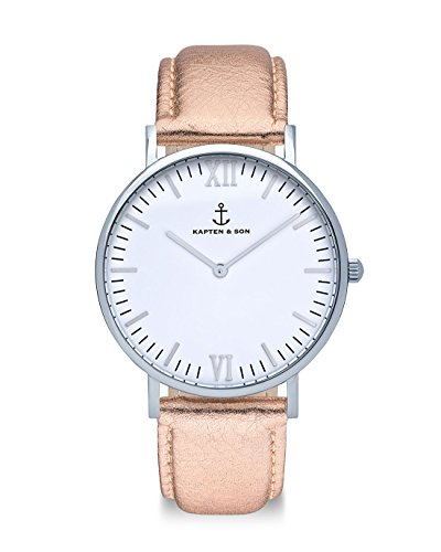 Kapten & Son Campus 'Rose Metallic Leather' 40 MM
