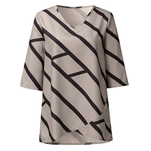 DressLksnf Damen Fünf-Punkt-Ärmel T-Shirt Streifen-gedruckte Bluse Plusgröße Einfarbige Oberteile V-Ausschnitt Taschen Unregelmäßiger Saum Bluse Lose Tops Shirt Oberteile Tunika -