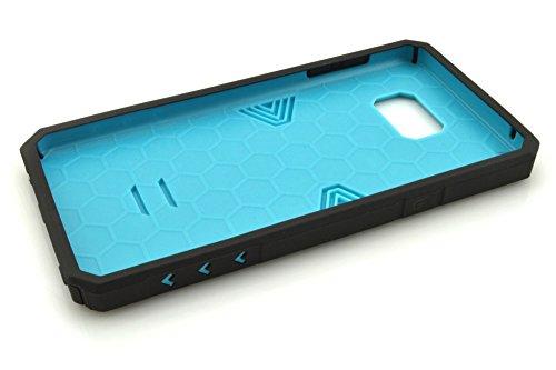 Galaxy Note 5Cas, meaci (TM) Étui pour téléphone pour Samsung Galaxy Note 5Étui Combo 2en 1Defender ArmorBox Coque rigide en plastique et bumper en silicone souple Noir (Bleu marine)