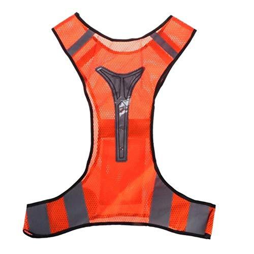 Riflettente Gilet Giubbotto Gilet Mounchain Led Safe Reflective Outdoor3 Luci A Led Che Lampeggiano 40 Ore Per Ciclismo All'Aperto RunningGilet DaTrekking Da Jogging Wear, Arancio