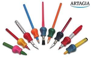 Grip Pencil Originale Aiuto di Scrittura Universale Ergonomico per Destrimano e Mancini, 6 modelli, Colori Assortiti di ARTAGIA