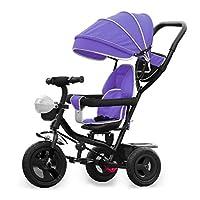 TyneeTM KIDS TRICYCLE 4 IN 1 TRIKE STROLLER BUGGY BAR PUSH BIKE + ROTATING SEAT (Purple)