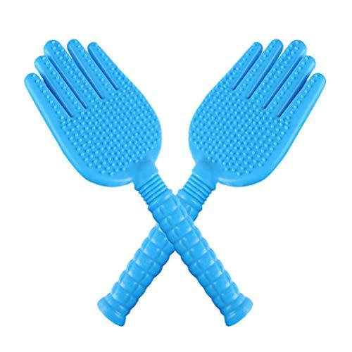 HEALLILY 2 stücke haushalts meridian beat board körper fitness schießen hand form klatschen schlagstock silikon hammer körper klopfen massagegerät (blau) -
