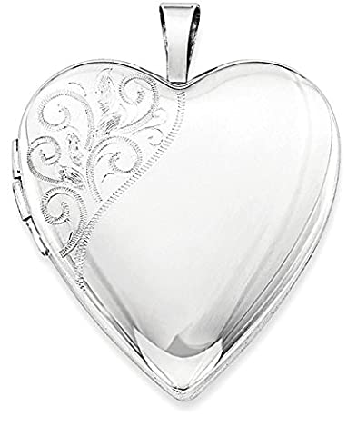 IceCarats 925 Sterling Silver Rhodium Plated 20mm Polished Swirl Heart Locket