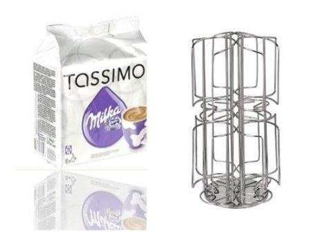 Tassimo Milka 1 Packung und dem neuen James Premium® Kapselständer drehbar passend für 6 Sorten a 8 T-Disc