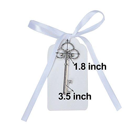 Awtlife 50pz rustico vintage chiave apribottiglie con carta tag e velato borsa per bomboniere matrimonio - 6