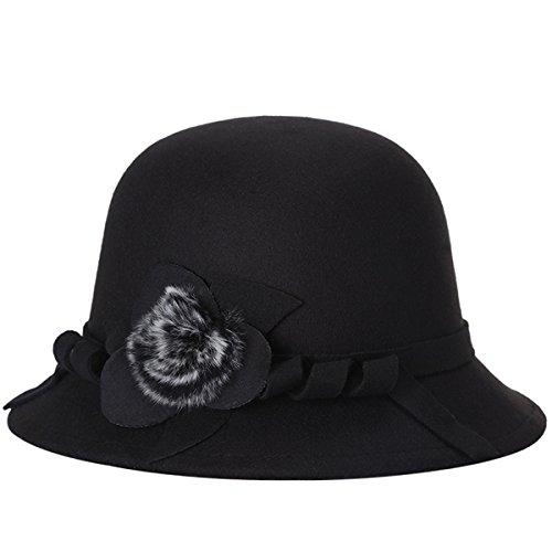 Butterme Frauen Damen Vintage Wool Round Bowler Hat Fedora Derby Hüte Vintage Cloche Hüte Bucket Cap Hut Schwarz (Fedora Sitz)