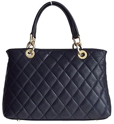 Handbag Bliss Italian Leather Quilted Designer Inspired Classic Handbag & Shoulder Bag New Style (Navy Blue)