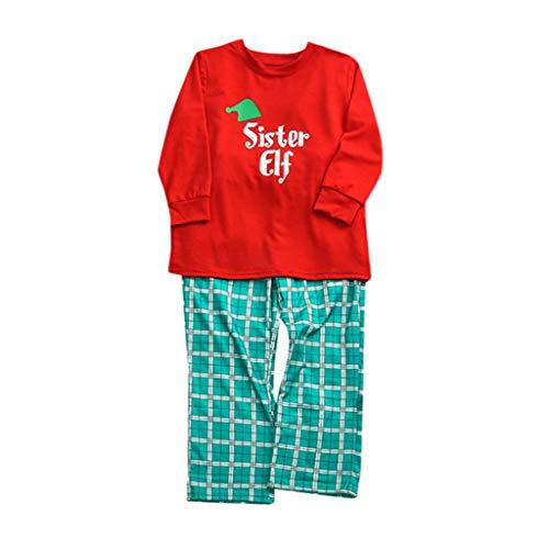 Schlafanzug Weihnachten Familie Baby Damen Herren Elf Kariert Pyjama Set Outfit Junge Mädchen Christmas Kostüm Lang Langarm Warm