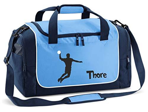 Mein Zwergenland Sporttasche in SkyBlue mit Namen, 38 L, Handball 55