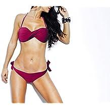 Bikini palabra honor relleno pecho y detalle frontal mod. VERTIGO - Moda verano - Burdeos, L