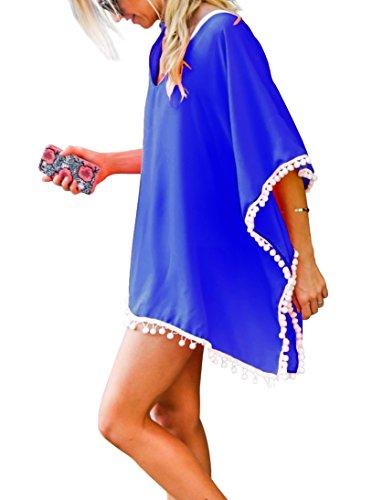 Da donna Chiffon Pom Pom Kaftan Costume da bagno Spiaggia Copricostumi e parei Cover Up Blu reale