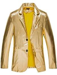 HX fashion Gioventù Uomini Bronzing Slim Fit Giacca Abiti Casual Cappotto Taglie  Comode Bianco E Nero Stile Discoteca A Due Pulsanti… bd79b7d096f