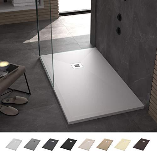 Duschwanne/duschtasse Rechteck Flach Antirutsch Stone - Komplettset - Alle Größen erhältlich - Inklusive Ablaufgarnitur - Weiß RAL 9003-70 x 120