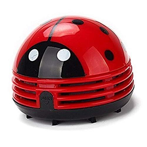 WANGGANG Desktop-Vakuum-Käfer Ladybug-Schreibtisch Staubsauger Mini-Tisch Staub Vaccum Reiniger-10 * 8,2 cm,Red (Schreibtisch Staub-reiniger)