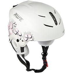 AWE® Casco de esquí para niños niñas blanco/rosa, tamaño: 52-56cm