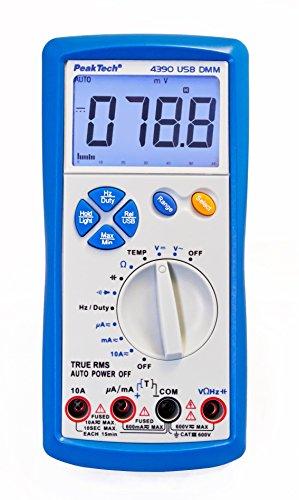 PeakTech True RMS Digital Multimeter 6000 Counts mit USB, Durchgangsprüfer und Autorange - CAT III 600V, 1 Stück, P 4390