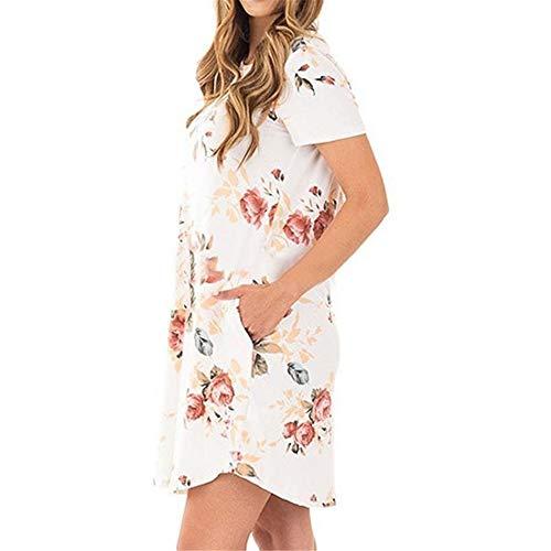 KKVK Sommer Frauen Kleider Mode O Neck Frauen Blumendruck Minikleid Sommer Kurzarm Kleider Party Hochzeit A1 XXL