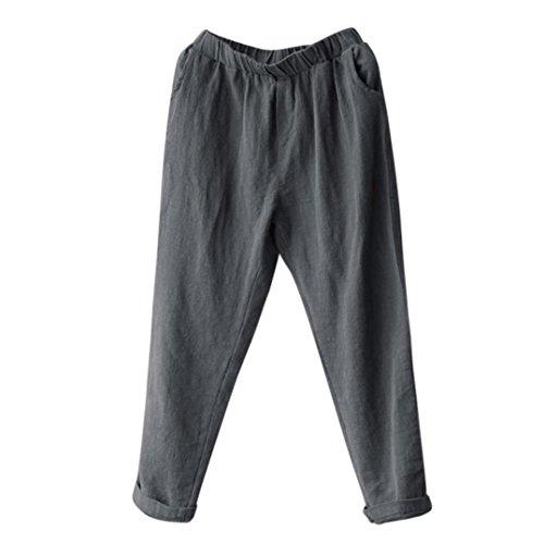 UFACE Damen Leinen Harem Lange Hosen Plus Größe Frauen Leinen Pluderhosen Baggy Lose Hosen Casual Lady (M, Grau)
