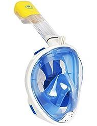 máscara del tubo respirador de cara completa de respiración para adultos y jóvenes. máscara de buceo seco completo revolucionaria con anti-vaho y anti-fugas Tecnología. Ver mejor con 180 ° área de visualización de máscaras tradicionales (azul, L/XL)