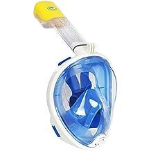Vollgesichts Atmung Schnorchelmaske für Erwachsene und Jugendliche. Revolutionäre voll trockenen Tauchermaske mit Anti-Fog-und Anti-Leak-Technologie. Besser sehen mit 180 ° Betrachtungsfläche als herkömmliche Masken