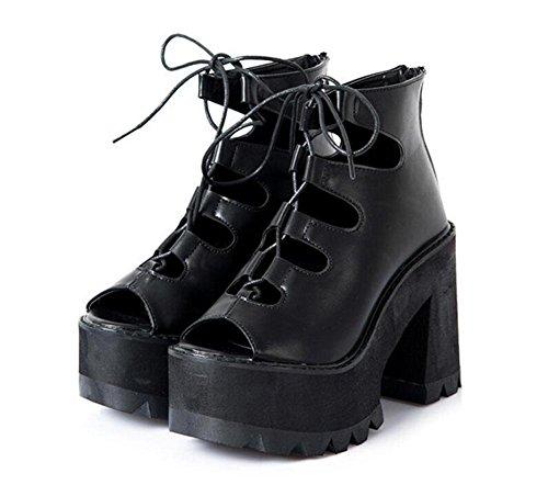 SHINIK Damen Peep Toe Pumps 2017 Neue Bequeme Rom Spitze Wasserdichte Plattform High Heel Sandalen Stiefel Schwarz Black