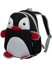bingone nohoo Kids Shoulder Bag 3D Cartoon Zoo Animal Backpack for Boys  Girls (Black Penguin 82922a1808e86
