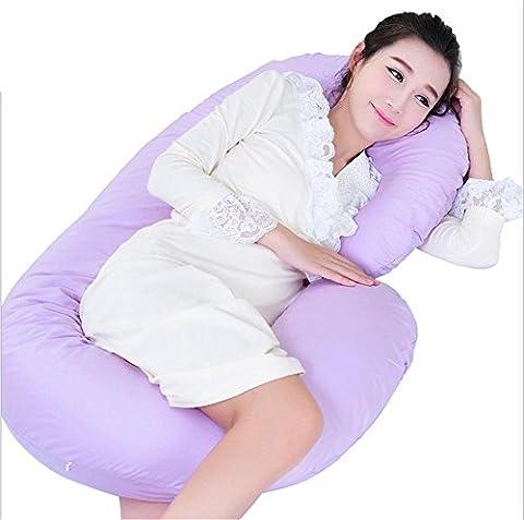 DU&HL Oreiller Total Body avec Jersey Cover - plus confortable coussin de maternité / grossesse du Monde - Avec Zipper - Full Contoured Snuggle Support System, Violet