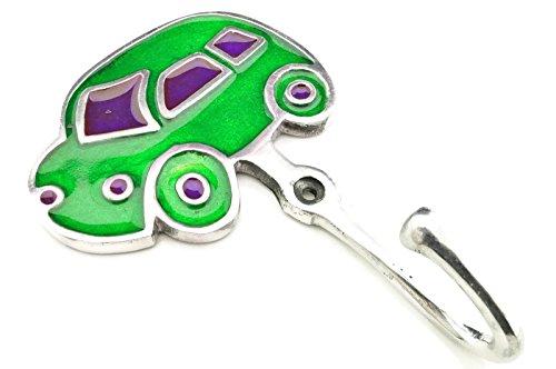 Garderobenhaken Auto grün lila 9.5 x 14.5 cm