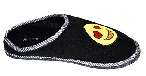 TMY -Kinder Filzpantoffeln mit Filzsohle/ Filzlatschen in Schwarz - Gelb mit Emoji, Gr. von 30-35 Black