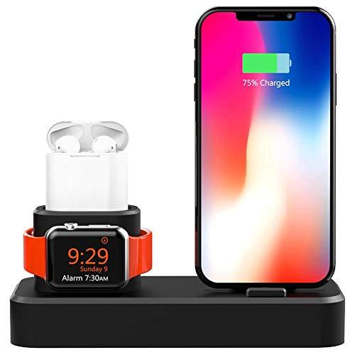 Auto echo universale per smart watch e supporto bluetooth headset system con stazione di ricarica per 3in 1apple watch stazione di ricarica per iphone iwatch silicone ricarica (senza cavo)