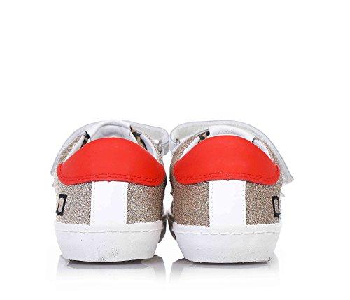 D.A.T.E. - Goldene Schuhe, aus Stoff und Glitzern, mit Klettverschluss, Kind, Mädchen Weiss/Gold