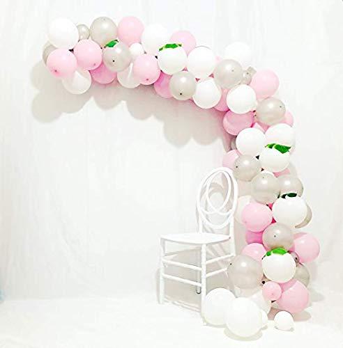 Ballonbogen & Girlande-Set | Rosa Silber weiße Ballons 90 Stück 12 Zoll & 5 Zoll Silber Ballons Pastell Pink Ballons Weiß Ballons Graue Ballons für Party, Hochzeit, Geburtstag, Mädchen, Baby Shower