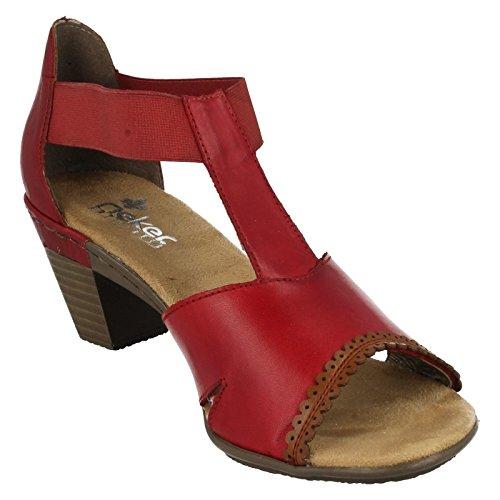 sale retailer d9f45 f25b5 Rieker Damen 67388 33 Sandalen Rot Rouge Rosso/Nuss/Rosso ...