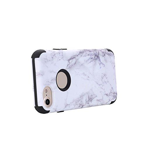 3 in 1 Vollständige Schutzhülle für iPhone 7 (4,7 Zoll), Cuitan Marmor Muster PC + Silikon 360° Komplettschutz Vorder- und Rückseiten Schutz Schale Stoßfest Vollschutz Hülle Case Cover Handytasche Han Schwarz