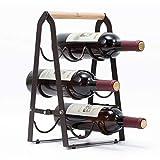 Kingrack Porte bouteilles de vin en cuivre pour six bouteilles,Support porte bouteilles de vin pliable,Prêt à être monté,Facile à poser wkuk130915