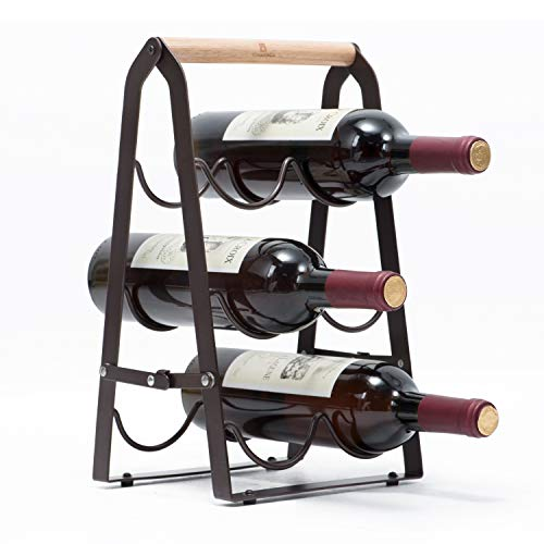 Kingrack Wine Rack 6 Bottles, Foldable Wine Bottles Holder Racks, Metal Copper Wine Holder Storage Free Standing, Ready Assembled, Easy to Put wkuk130915