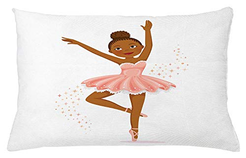 ushion Cover, Ballerina Dancing Daughter Classic Performance Hobby Birthday Kids Baby Theme, Decorative Square Accent Pillow Case, 18 X 18 Inches, Rose and Brown ()