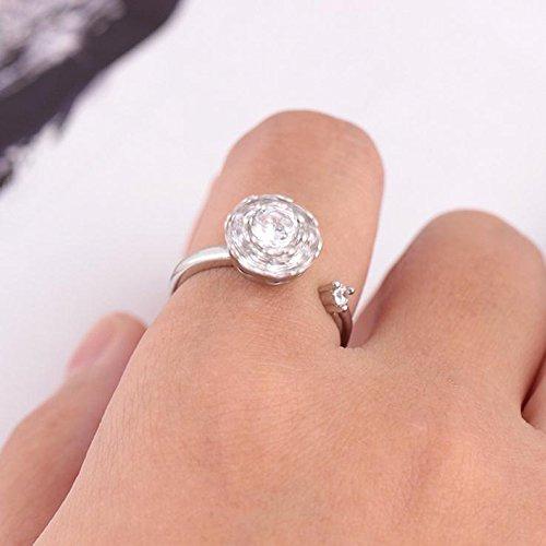 ZANHUI Populäre Rotierende Ring Vibrato Zirkon Rotierenden Legierung/Kupfer Diamant Ring Für Frauen,Silver1 (Orange Diamant-ringe Für Frauen)