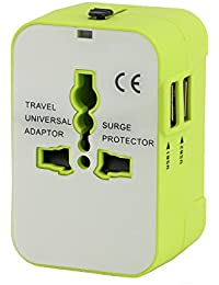 Adattatore da viaggio, in tutto il mondo all in one Universal Power convertitori da parete adattatore di spina alimentatore caricabatterie da muro con due porte USB per cellulare usa AUS EU/UK
