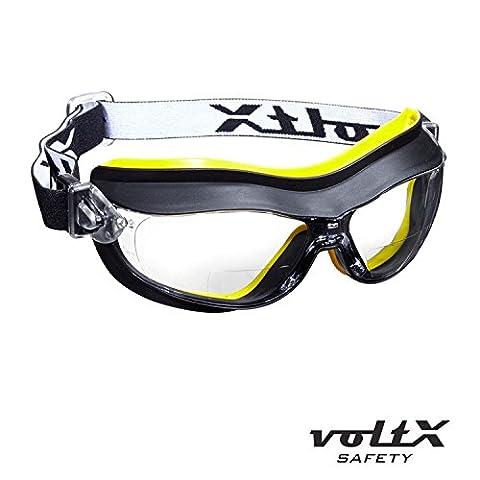 voltX DEFENDER Kompact BIFOKALE Belüftet Schutzbrille (KLAR +2.5 Dioptrie), CE EN166FT zertifiziert, Anti-Beschlag Beschichtung - Compact Bifocal Safety Goggles