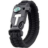 Hunpta@ Überlebens Überlebens-Armband-Kompass Feuerstein-Feuer-Starter-Schaber-Pfeifer-Gang-Ausrüstungen